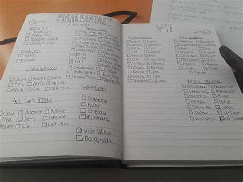 Working on a checklist for 100 percenting FF7