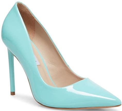 Pointy Vala Pumps in Blue Crocodile, Pink Patent, Studded