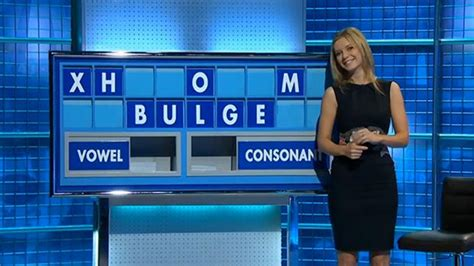 Rachel Riley blushes as she is made to spell b*****e on